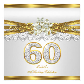 White Pearl Gold Lace Floral 60th Birthday Party 13 Cm X 13 Cm Square Invitation Card