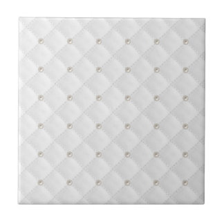 White Pearl Stud Quilted Ceramic Tile