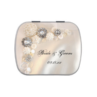 White Pearls and Diamond Buttons Wedding Favor Jelly Belly Candy Tins