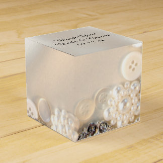 White Pearls and Diamond Buttons Wedding Favour Box