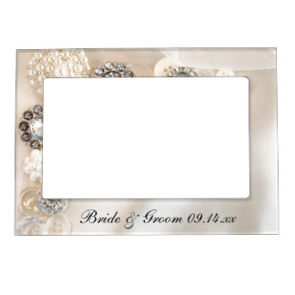 White Pearls and Diamond Buttons Wedding Frame Magnets