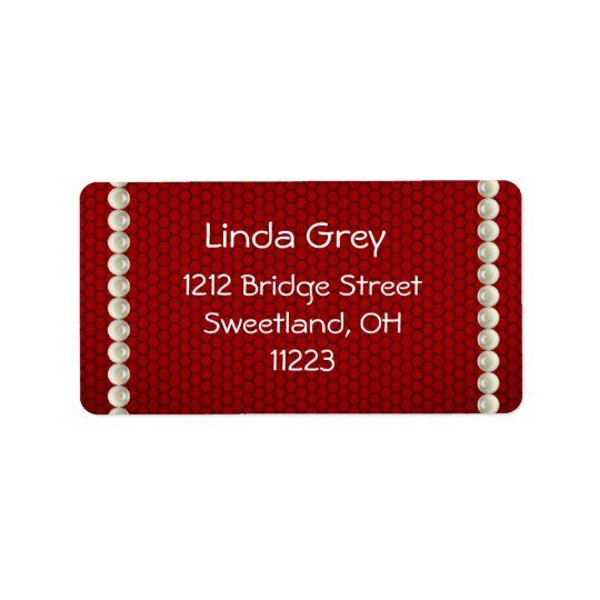 White Pearls Red Address Label