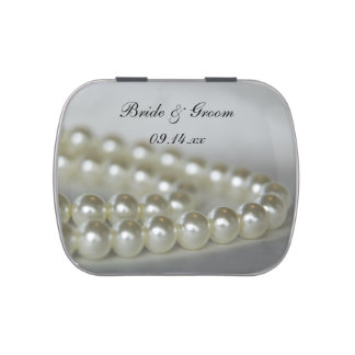 White Pearls Wedding Favor Jelly Belly Candy Tin