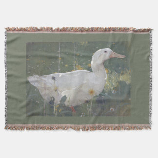 White Pekin Duck Bird  Animal Flower Throw Blanket