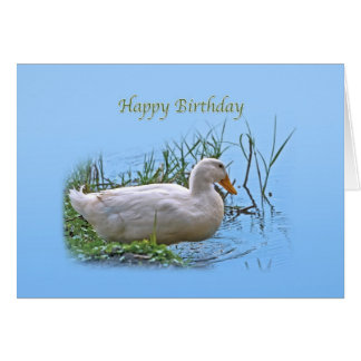 White Pekin Duck Birthday Card