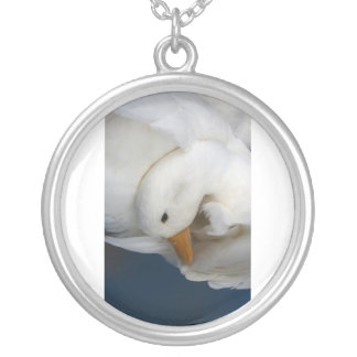 White Pekin Duck with head tucked under picture Silver Plated Necklace