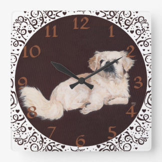 White Pekingese Clock