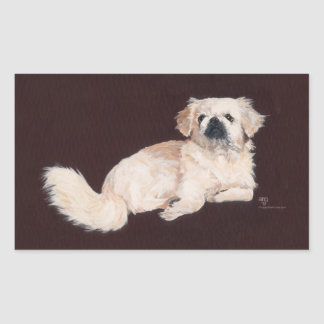 White Pekingese Dog Rectangular Sticker