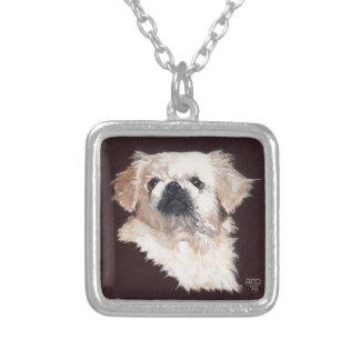White Pekingese Dog Silver Plated Necklace
