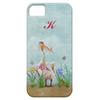 White Pelican, Flowers and Butterflies, Monogram Barely There iPhone 5 Case