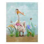 White Pelican with Flowers and Butterflies Photographic Print