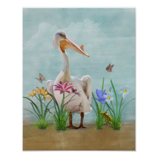 White Pelican with Flowers and Butterflies Poster