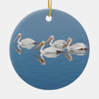 White Pelicans on Barr Lake Ceramic Ornament