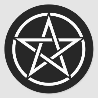 White Pentagram on Black Classic Round Sticker