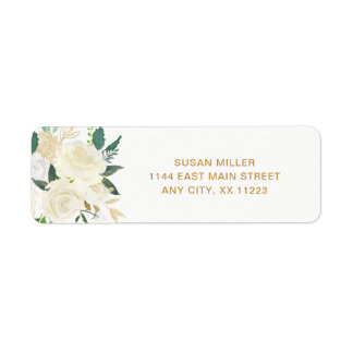 White Peonies Floral wedding return address Return Address Label