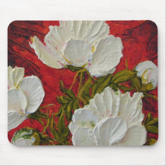 White Peonies Mousepad