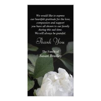 White Peony 1 Memorial Sympathy Thank You Photo Greeting Card