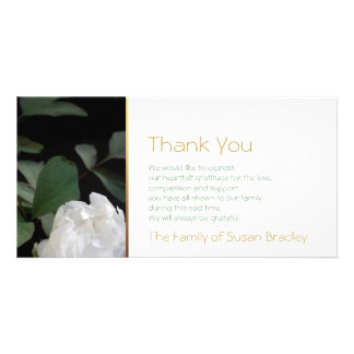 White Peony 2 Memorial Sympathy Thank You Personalised Photo Card