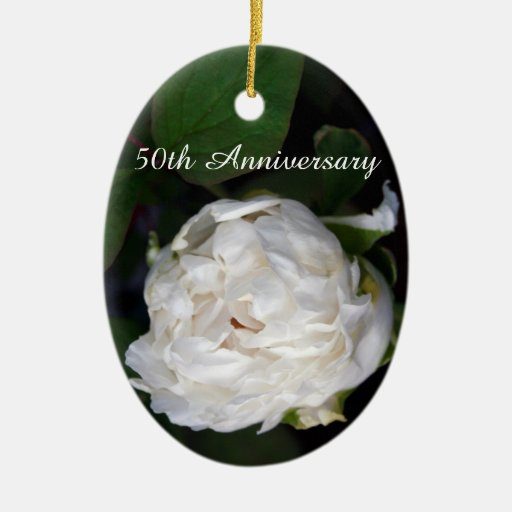 White Peony - Floral Photography - Christmas Ornament