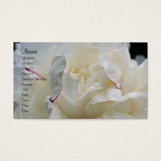 White Peony Flower Petals Nature Business Card