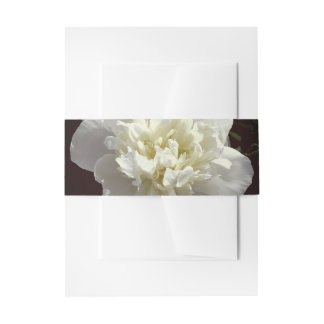 White Peony Invitation Belly Band