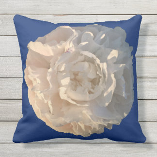White Peony on a blue background Outdoor Cushion