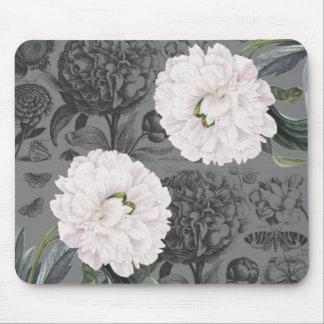 White Peony Romantic Grey Mouse Pad