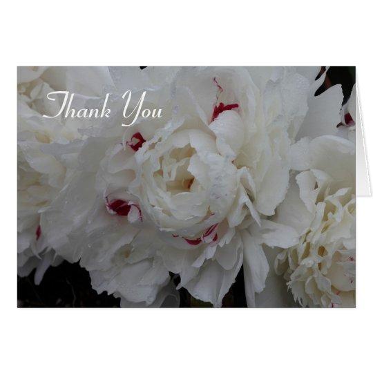 White Peony Thank You Card