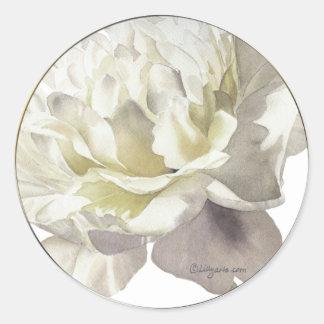 White Peony Wedding Invitation Seal Round Sticker