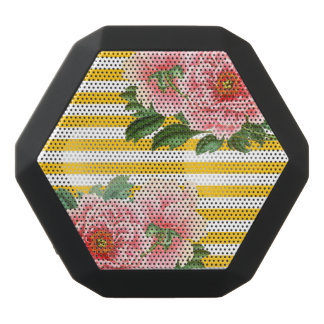 White Peony Yellow Romantic Black Bluetooth Speaker