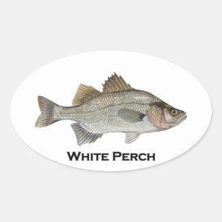 White Perch Oval Sticker