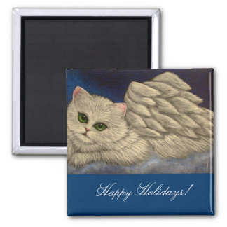 WHITE PERSIAN ANGEL CAT HOLIDAY Magnet