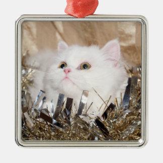 White Persian cat Christmas Metal Ornament