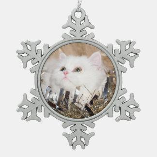 White Persian cat Christmas Snowflake Pewter Christmas Ornament