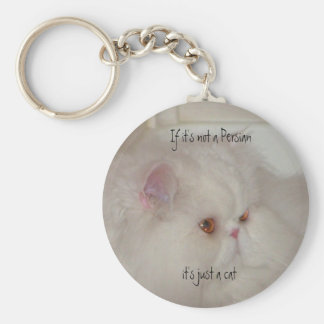 White Persian cat Basic Round Button Key Ring