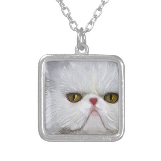 White Persian Cat Necklace