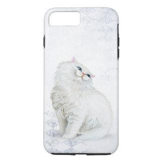 white Persian cat on silver diamond pattern iPhone 8 Plus/7 Plus Case