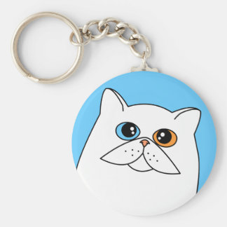 White Persian Cat w/ Odd Eyes Basic Round Button Key Ring