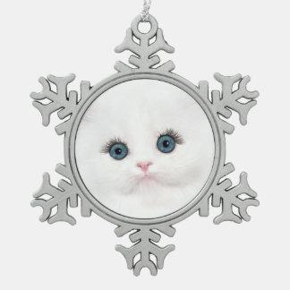 White persian kitten Christmas Snowflake Pewter Christmas Ornament