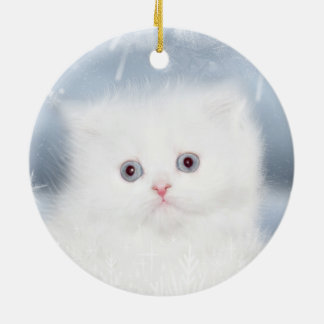 White persian kitten face round ceramic decoration