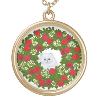 White Persian Kitten in Holiday Wreath Necklace
