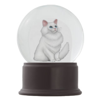 White Persian Kitty Cat Snow Globe