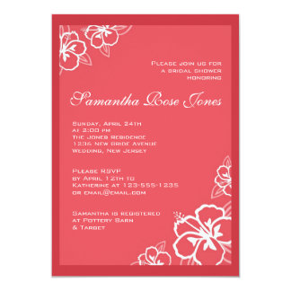 White & Persimmon Hibiscus Flowers Bridal Shower Card