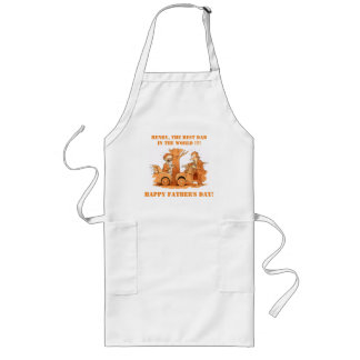 White Personalized Funny Fathers Day Long Aprons