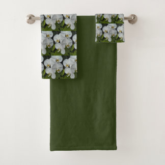 White Phalaenopsis Orchids Floral Bath Towel Set