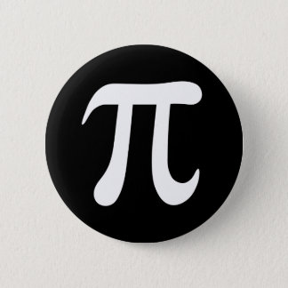 White pi symbol on black background 6 cm round badge