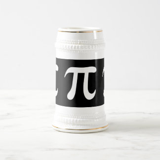 White pi symbol on black background beer stein