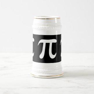 White pi symbol on black background beer steins