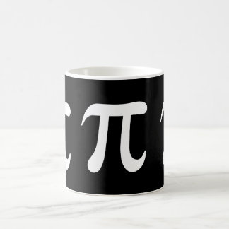 White pi symbol on black background coffee mug
