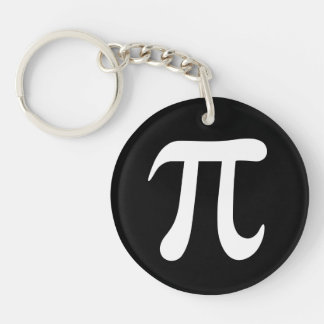 White pi symbol on black background key ring